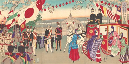 Visit of the Empress to the Third National Industrial Promotional Exhibition at Ueno Park (Ueno dai sankai naikoku kangyo hakuran kai gyoko no zu), 1889.