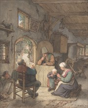 Reading the News at the Weavers' Cottage, 1673.