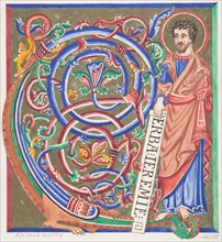 Illuminated Initial and Saint, 1830-62.