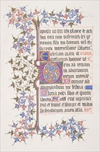 "Illuminated Leaf with Initial ""E"" (recto); Vine Border (verso), 1830-62."
