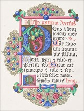 "Illuminated Letter ""D"" within a Decorated Border, 1830-62."