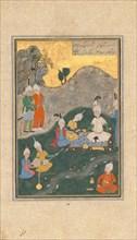 Alexander at a Banquet, Folio from a Khamsa (Quintet) of Nizami, dated A.H. 931/A.D. 1524-25.