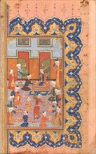 A Scene of Conviviality at Court, Folio from a Divan (Collected Works) of Mir 'Ali Shir Nava'i, 1580.