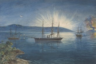 The Bay of Bull Arms, Trinity Bay, Newfoundland, Bonfires Lighted on the Hills to Notify of the Arrival of the Cable Fleet on August 5th, 1858, 1865-66.
