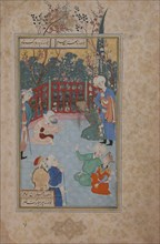 A Religious Devotee Summoned to Pray for the King's Recovery, Folio from a Bustan (Orchard) of Sa'di, 17th century.