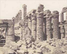 Karnak (Thèbes), Palais - Salle Hypostyle - Vue Générale Prise du Point Q, 1851-52, printed 1853-54.