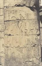 Karnak (Thèbes), Palais - Salle Hypostyle - Colonnade Centrale - Décoration d'un Fut, 1851-52, printed 1853-54.