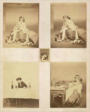 [Album page with ten photographs of La Comtesse mounted recto and verso], 1861-67. Top left: [La Comtesse with Horn, Umbrella and Bottles]; top right: [La Comtesse Blowing Horn]; center: [La Comtesse ...