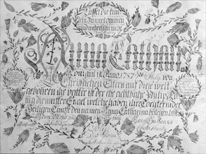Birth and Baptismal Certificate, 1787.