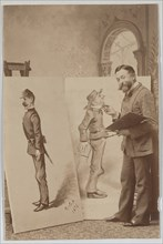 Full-length Portrait of Thomas Nast with Two Caricatures, ca. 1888.