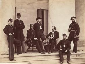 Brigadier General Gustavus A. DeRussy and Staff on Steps of Arlington House, Arlington, Virginia, May 1864.