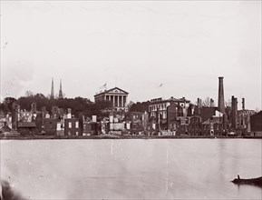 Ruins on North Bank of Canal, Richmond, 1865. Formerly attributed to Mathew B. Brady.