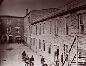 Castle Thunder, ex-tobacco factory, Petersburg, 1864. Formerly attributed to Mathew B. Brady.