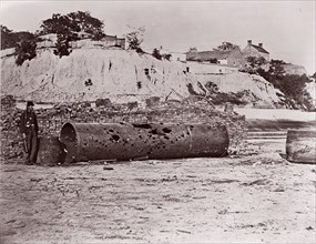 """Smokestack of Confederate Ram Merrimac at Richmond/Remains of Ironclad Ram """"Virginia #2"""", April, 1865, 1865. Formerly attributed to Mathew B. Brady."""