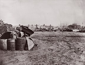 Wharves at Richmond, Virginia, 1865. Formerly attributed to Mathew B. Brady.