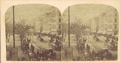 Broadway with horse-drawn carriages, ca. 1860s.