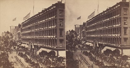 The Embassy Leave the Metropolitan for the City Hall, the Seventh Regiment Form a Hollow Square With the Carriages of the Embassy in the Middle, 1860.
