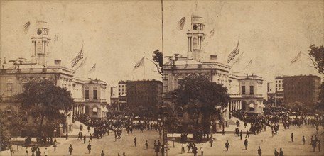 The Populace Begin to Gather in Front of the City Hall to Witness the Arrival of the Embassy on Their Visit to the Governor and Mayor, 1860.