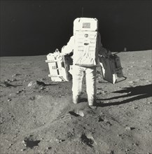 Buzz Aldrin on the Moon with Components of the Early Apollo Scientific Experiments Package, 1969.