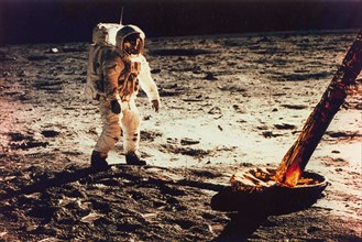 Buzz Aldrin Walking on the Surface of the Moon Near a Leg of the Lunar Module, 1969.