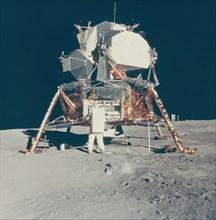 Buzz Aldrin with Apollo 11 Lunar Module on the Moon, 1969.
