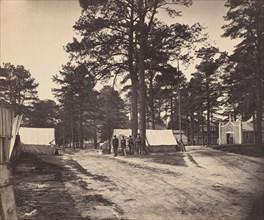 Civil War View, 1860s. (Portion general Hospitalfare grounds Petersburg, Va.)
