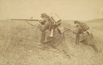Soldier with Rifle and Bugle, 1880s-90s.