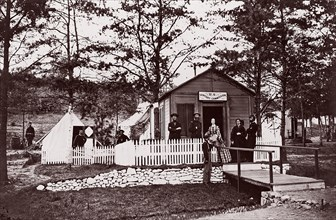Sanitary Commission Office. Convalescent Camp, Alexandria, Virginia, 1861-65. Formerly attributed to Mathew B. Brady.