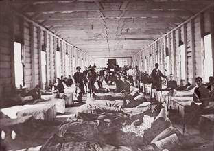 Ward in Hospital. Convalescent Camp, Alexandria Virginia, 1861-65. Formerly attributed to Mathew B. Brady.