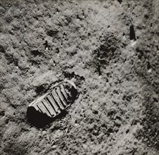 Buzz Aldrin's Footprint on the Surface of the Moon, 1969.