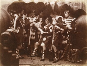 Officer of the 92nd Gordon Highlanders Reading to the Troops, Edinburgh Castle, April 9, 1846 .