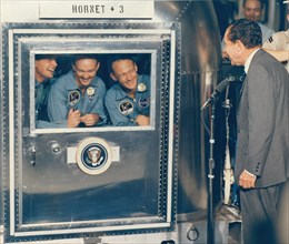 President Richard M. Nixon Welcomes the Apollo 11 Astronauts Aboard Recovery Ship USS Hornet, 1969.