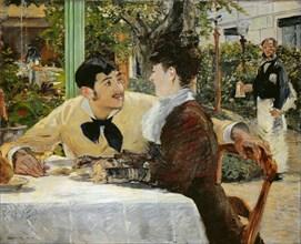 At the Père Lathuille Restaurant (Chez le père Lathuille, en plein air) , 1879. Creator: Manet, Édouard (1832-1883).