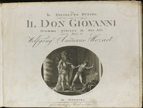 Cover of the score of the opera Don Giovanni by Wolfgang Amadeus Mozart, 1801. Creator: Anonymous.