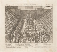 Depiction of the Parliament of London?s session of the sentence of the Earl of Stafford, ca 1642. Creator: Hollar, Wenceslaus (1607-1677).