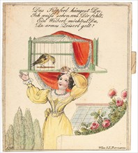 "Greeting card. ""Your little head is hanging, I know what is wrong with you..."", after 1815. Creator: Anonymous."