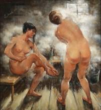 In a Russian steam bath, 1918. Creator: Tikhov, Vitali Gavrilovich (1876-1939).