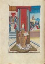 Justitia (Justice) from Margareta Philosophica, 16th century. Creator: Reisch, Gregor, (after)  .