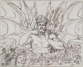 Lucifer in the center of hell. Illustration to the Divine Comedy by Dante Alighieri, ca 1803. Creator: Koch, Joseph Anton (1768-1839).