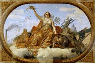 Peace (Ceiling painting, Salle des Pas perdus) , 1839-1847. Creator: Vernet, Horace (1789-1863).
