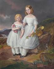 Portraits of Franziska Comtesse Kolowrat-Krakowsky (1835?1904) und Seraphine Comtesse..., 1841. Creator: Mánes, Josef (1820-1871).