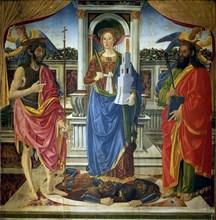 Saint Barbara with Saints John the Baptist and Matthew, ca 1470. Creator: Rosselli, Cosimo di Lorenzo (1439-1507).