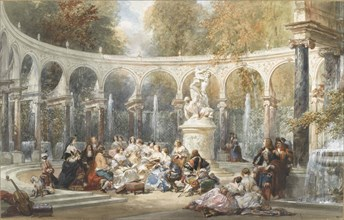 Society at the Bosquet de la Colonnade in the garden of Versailles. Creator: Lami, Eugène Louis (1800-1890).