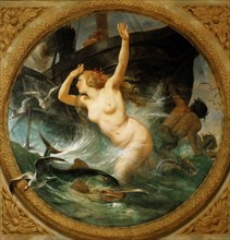 Steam Putting to Flight the Sea Gods (Ceiling painting, Salle des Pas perdus) , 1839-1847. Creator: Vernet, Horace (1789-1863).