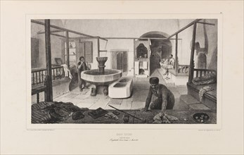 "Tatar bath, Rest room. From ""Voyage dans la Russie"" by Anatole de Demidoff, 1837. Creator: Raffet, Auguste (1804-1860)."