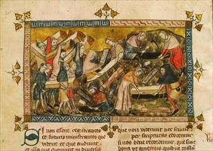 The burial of the victims of the plague in Tournai, ca 1353. Creator: Pierart dou Tielt (active ca 1325-1355).