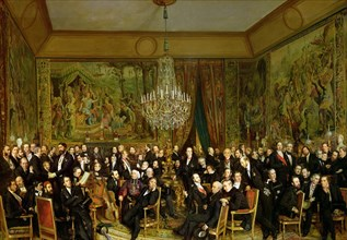 The Salon of Alfred Emilien, Comte de Nieuwerkerke (1811-1892) at the Louvre, 1855. Creator: Biard, François-August (1798-1882).