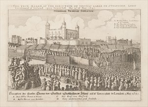 The true maner of the execution of Thomas Earle of Strafford, Lord Lieutenant of Ireland..., ca 1642 Creator: Hollar, Wenceslaus (1607-1677).