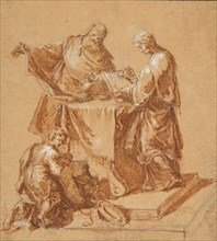 A High-Priest, the Prophetess Anna (?) and a Kneeling Boy around a Table, 1745. Creator: Anton Kern.