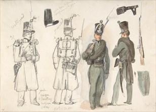 Uniforms of the civil guard in Courtray, Belgium, 1832. Creator: Auguste Raffet.